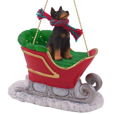 Doberman Pinscher Sleigh Dog Christmas Ornament