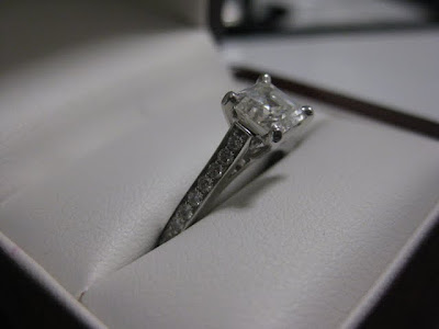 Asscher-Cut Diamond Engagement Ring with Pavé-Set Diamonds on the Sides - Photo by Michelle Judd of Taste As You Go