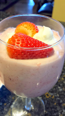 April Fool's Recipe with no Trick: Strawberry Fool Recipe is blended strawberries with the cut strawberries and the fresh whipped vanilla cream (Grand Marnier optional)