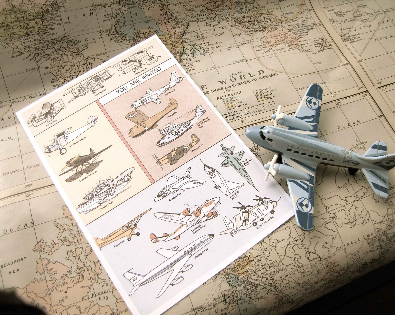 Vintage Flight Airplane Party - Vintage aviation maps