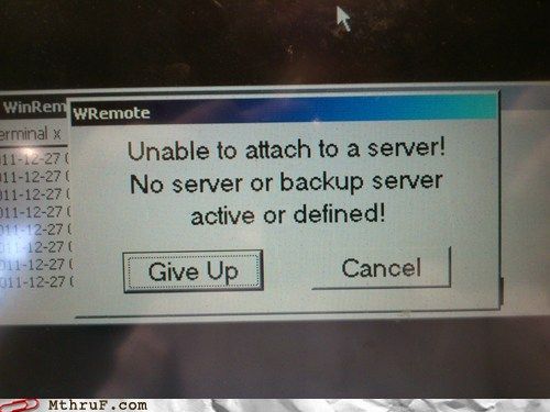 photo of a funny computer error message