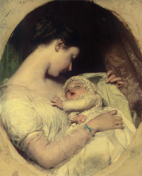 James Sant - Artist`s Wife Elizabeth and Daughter