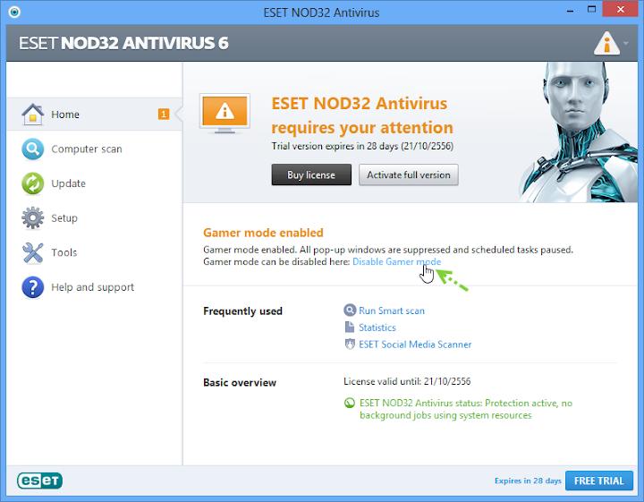 การเปิดใช้งานโหมดสำหรับผู้เล่นเกมบน Nod32 และการกำหนดค่า Nodgame03