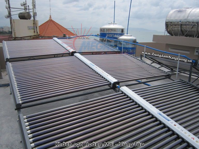 Hình ảnh hệ thống máy nước nóng NLMT Megasun tại Khách sạn Hoàng Mai, Vũng Tàu