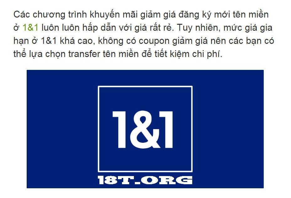 TRANSFER TÊN MIỀN TỪ 1 AND 1 SANG NHÀ CUNG CẤP KHÁC