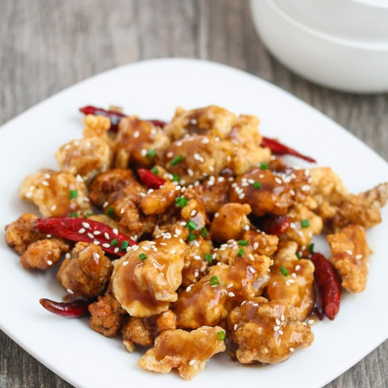 photo of General Tso's Chicken on a white plate