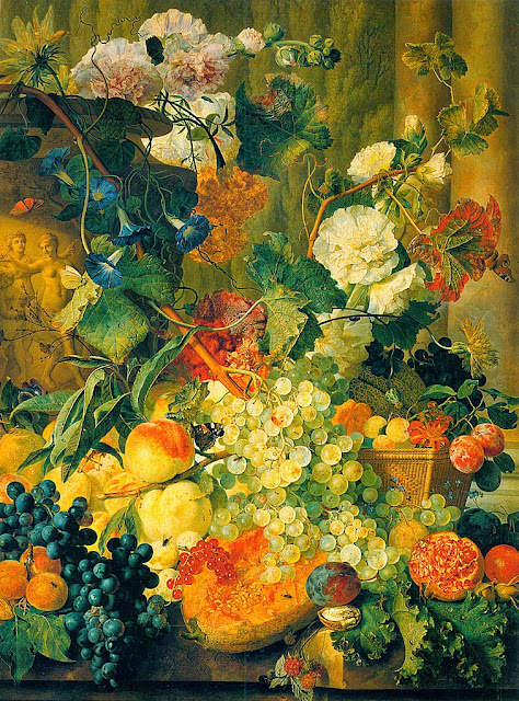 Jan van Huysum - Pink and white double Hollyhocks, Morning Glory, Marigolds, Cockscombs, Passion Flowers and Forget-Me-Nots surrounding a sculpted Urn