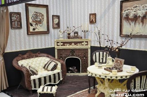 غرفة كامله منحوته من الشوكولاته ابداع النحاته Elena Kleiment