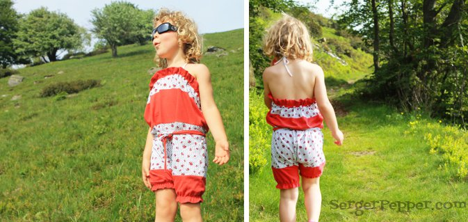 Serger Pepper - Guest Post on Brassy Apple - Refashion Tutorial - Bubble Romper - final shoots - front and back