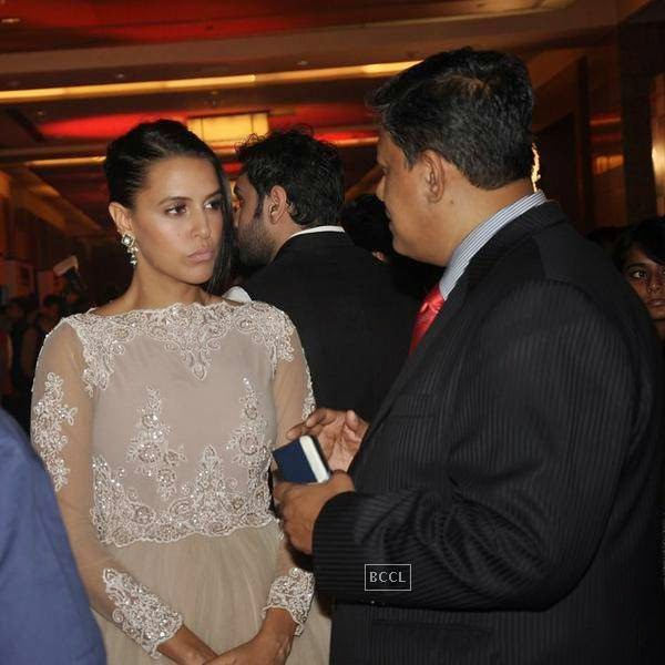 Neha Dhupia during the 10th Annual Gemfields and Nazraana Retail Jeweller India Awards, 2014, in Mumbai, on July 19, 2014. (Pic: Viral Bhayani)