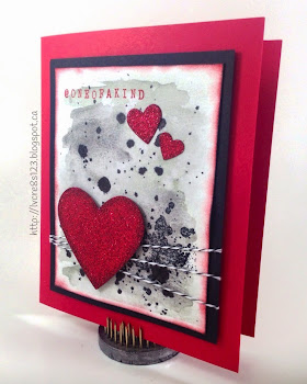 Linda Vich Creates: Valentine Round Up. Watercolor washed background topped with gorgeous grunge and red glimmer hearts. Alphabet rotary stamp used for sentiment.