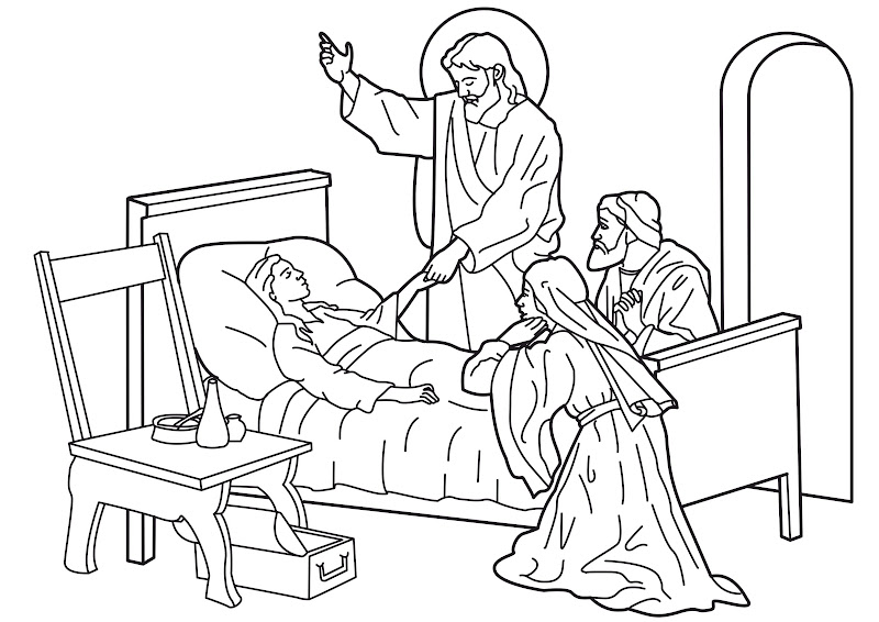 jesus restoring life to a little girl coloring pages