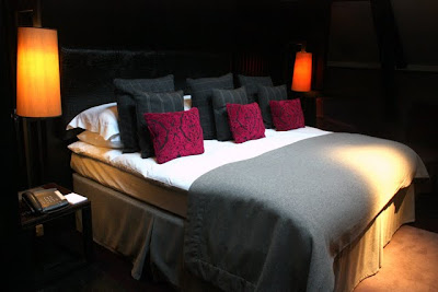 Bed in a room at the Malmaison hotel in Belfast Ireland