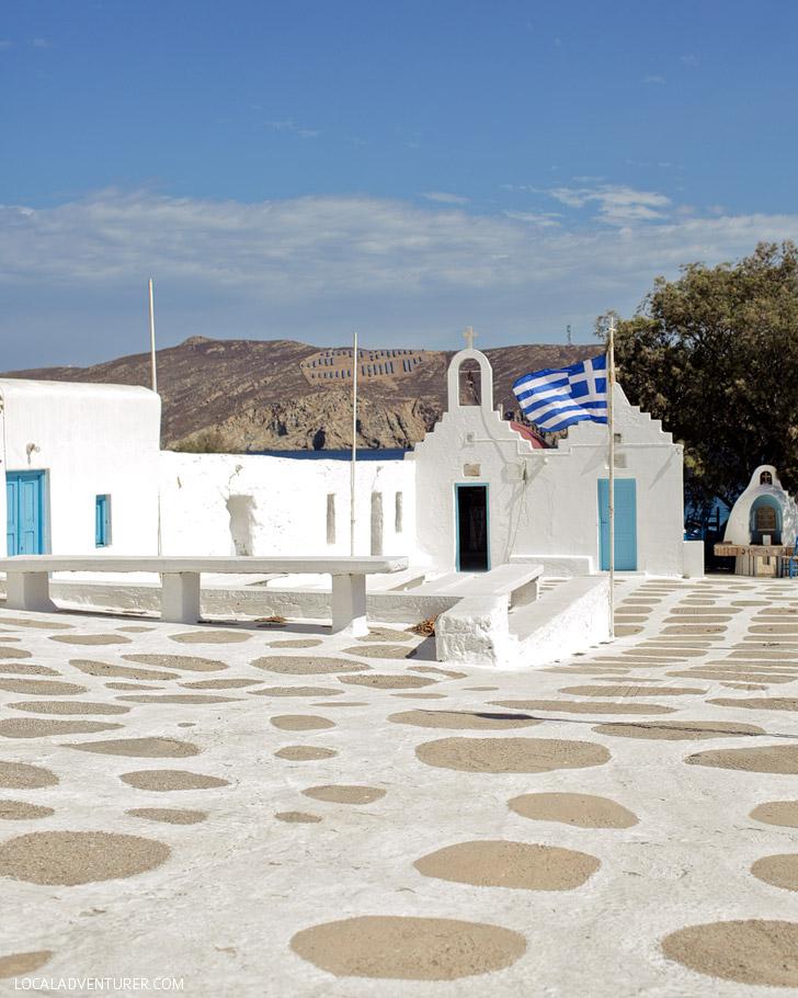 Agios Sostis Mykonos Beach Town in Greece.