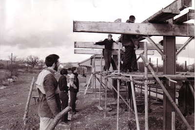 Adam Grogan, Nick Perring, and a number of Sea cadets, helping with erecting the ex-Axbridge Canopy. Date  27/2/1994.  Photo: L.S. Hawkins