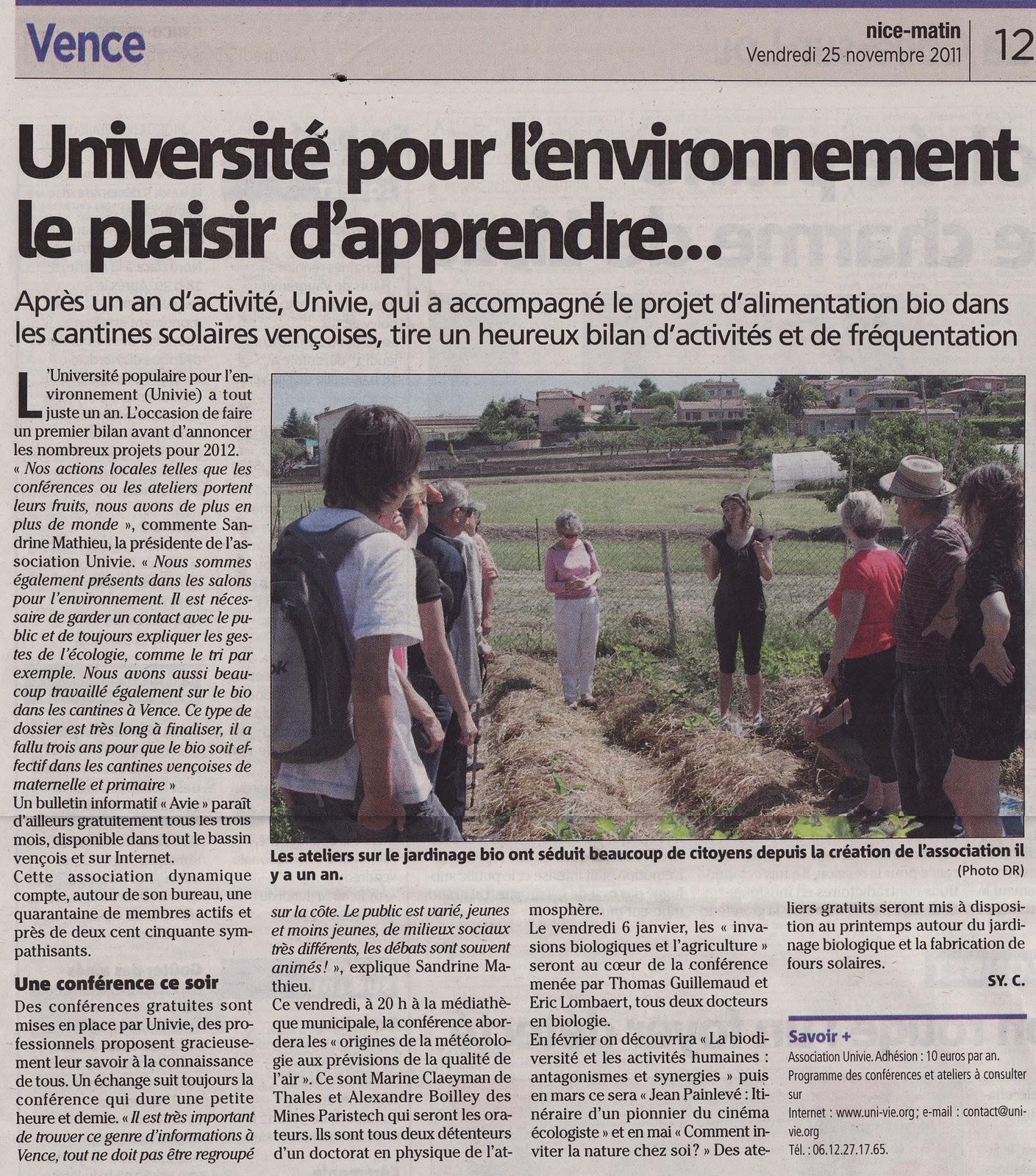 Article dans Nice Matin sur UNI-VIE (numéro du vendredi 25 novembre 2011, pages de Vence)
