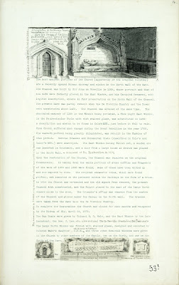 A Record of Shelford Parva by Fanny Wale P53 (NB There are two pages with the numbers 53 at the bottom) fo. 54, page 531: At the top of the page is a watercolour of the tomb-stone of Sir John de Freville, description of exterior of church below. At the bottom of the page three sketches, one of the window at the south chancel, Saxon coffin lid and tablet in memory of Thomas Mitchel. [fo.42]