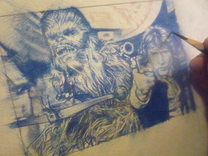 Harrison Ford as Han Solo & Peter Mayhew as Chewbacca, work inprogress sketch card