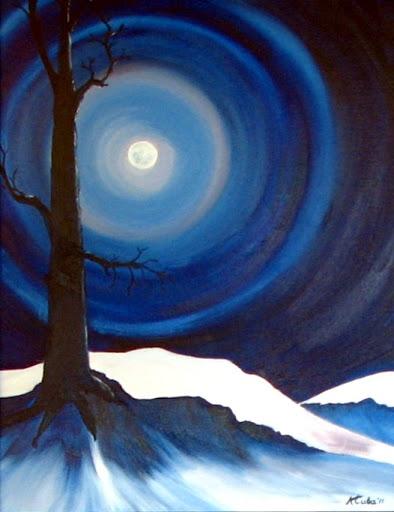 """""""Hunters Moon"""" by artist Katherine Cuba. Oil. $350."""