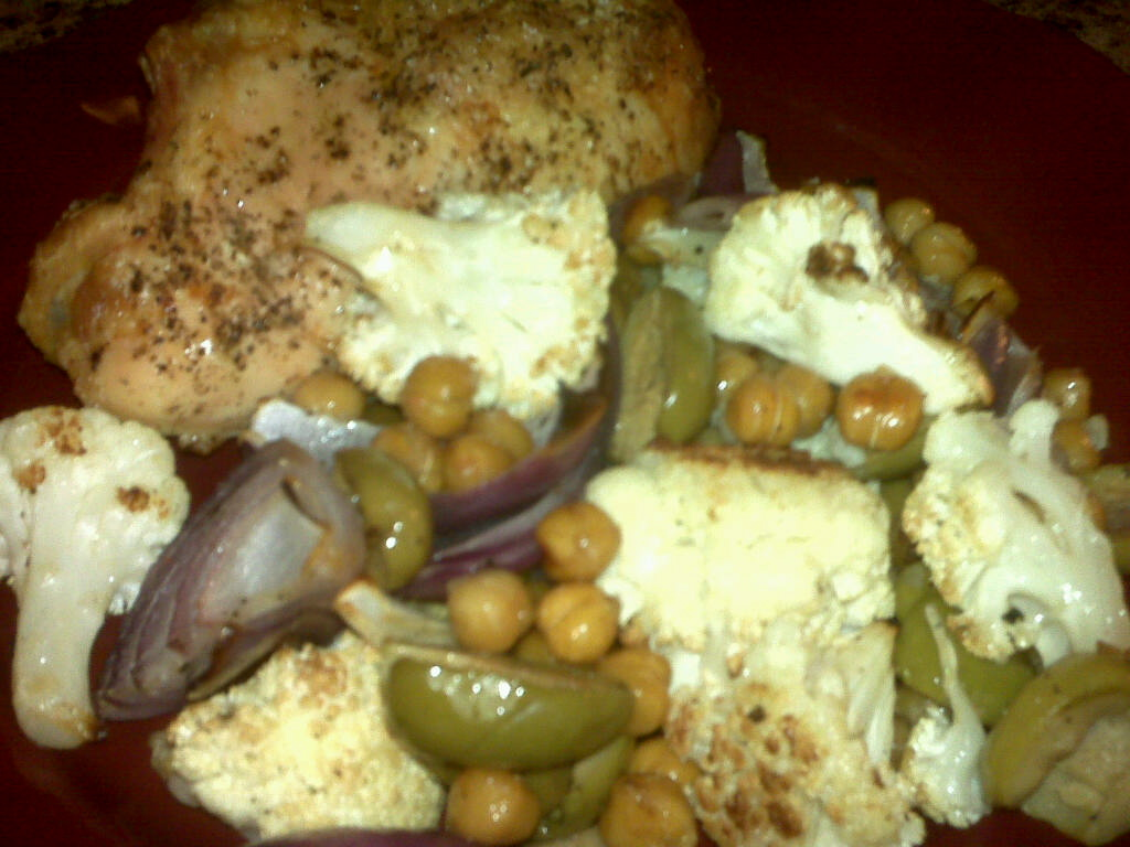 ... Brighter Days: Roasted Chicken with Cauliflower, Chickpeas and Olives