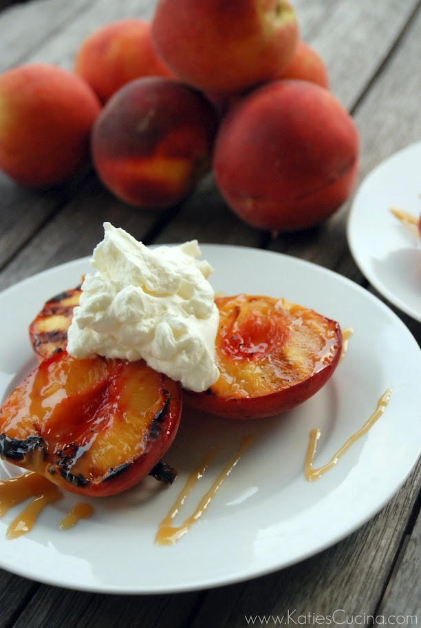 Grilled Peaches with Caramel Sauce and Whipped Cream