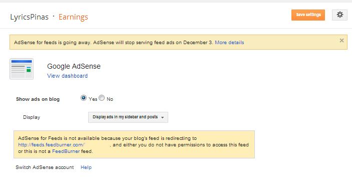 AdSense will stop serving feed adds on December 3