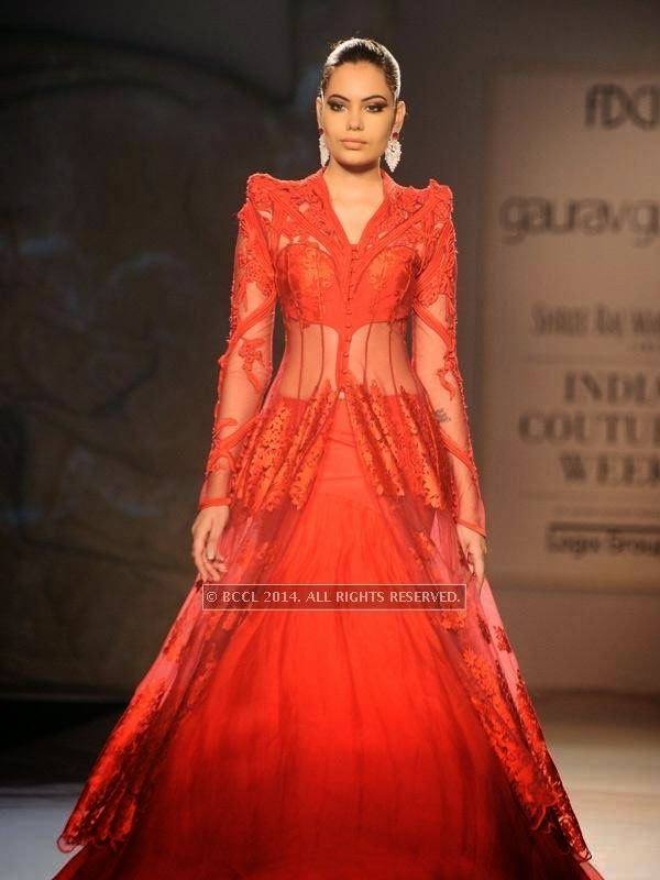 Srishti Rana walks the ramp for designer Gaurab Gupta on Day 3 of India Couture Week, 2014, held at Taj Palace hotel, New Delhi.<br />