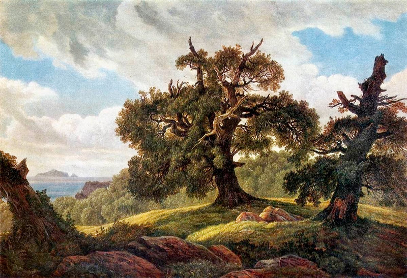 Carl Gustav Carus - Oaks by the seaside