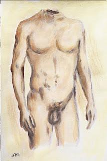 Original fine art painting - Male Nude Torso I