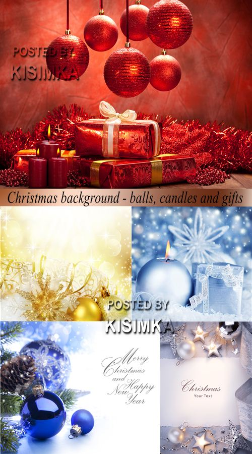 Christmas background - balls, candles and gifts