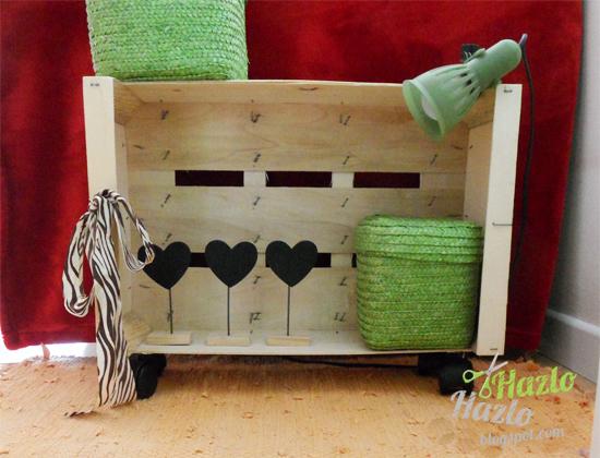 como hacer un mueble auxiliar con una caja de fruta