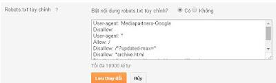 Robots.txt tùy chỉnh