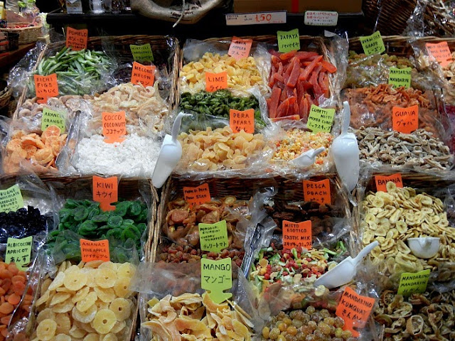Dried fruits at Mercato Central in Florence, photo courtesy Live Do Grow