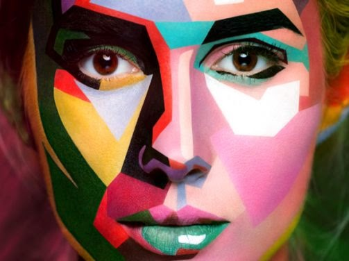 Faces of Models Transformed Into 2D Images with Face Paint  The