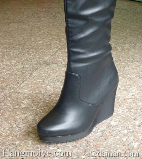 Boots đế xuồng, cao cổ quá đầu gối, chất liệu bằng da, màu đen 3 - Chỉ với 1.190.000đ
