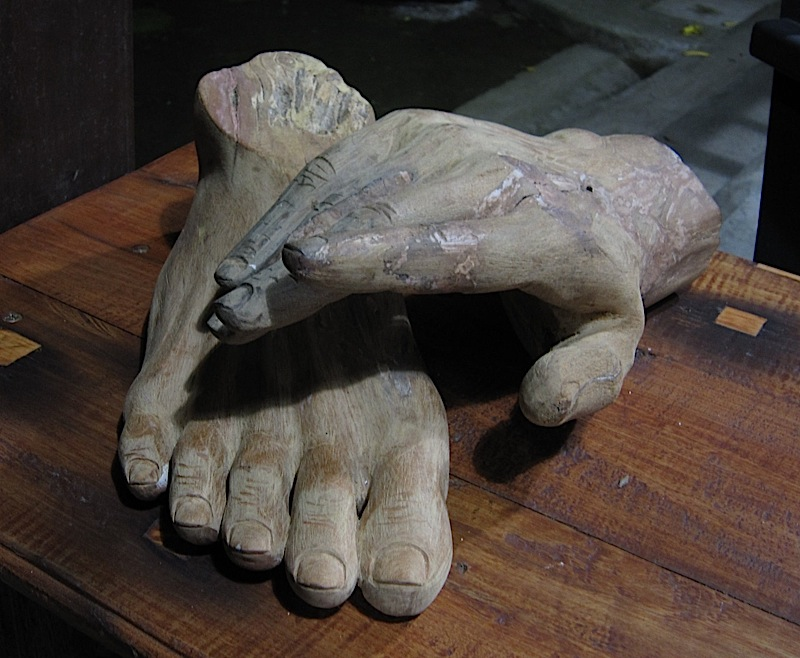 hand and foot sculptures at Casa San Pablo