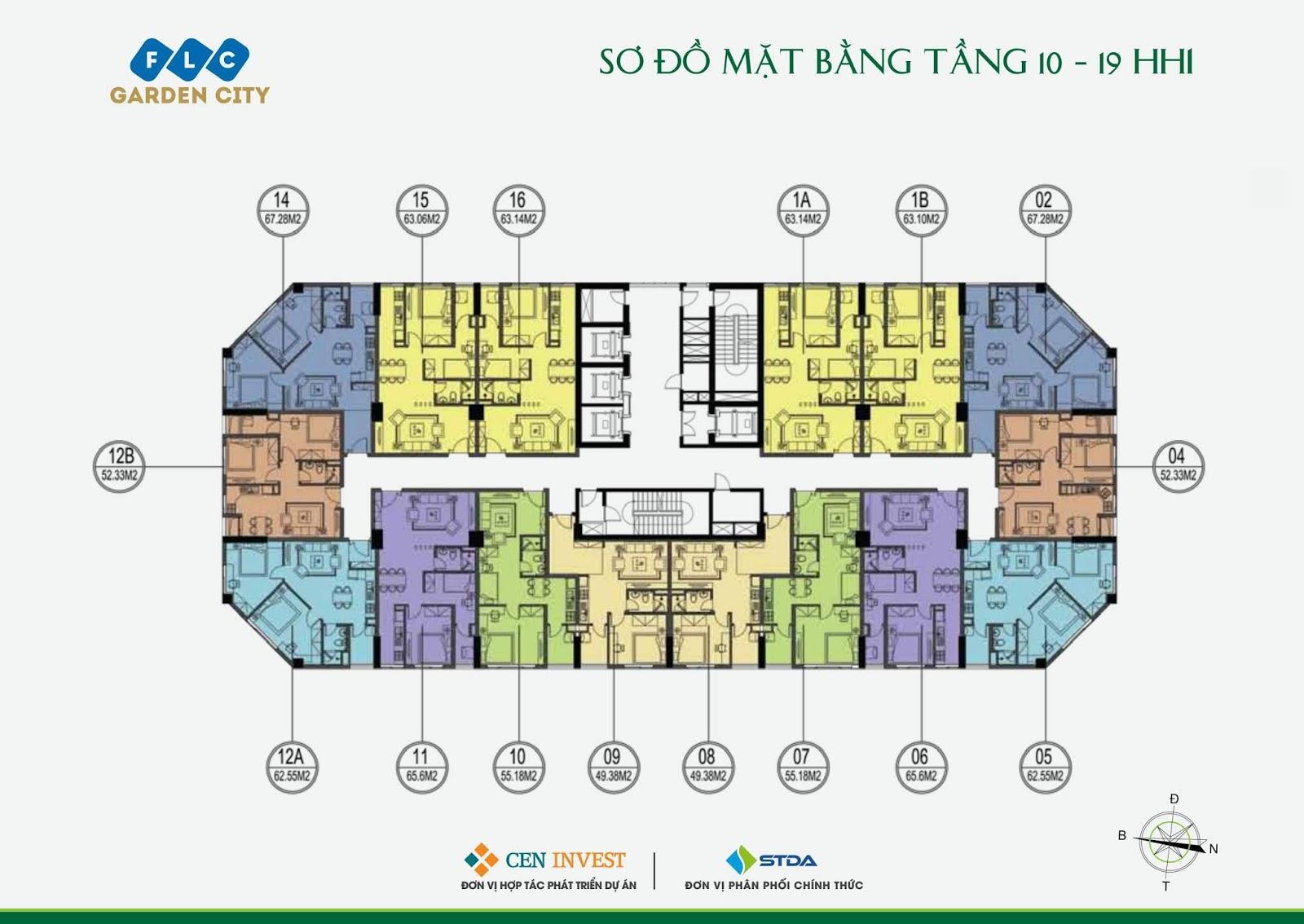 Mặt bằng tầng 10 - 19 Tòa HH1 dự án FLC Garden City Đại Mỗ