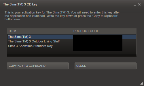 sims 3 cd key steam