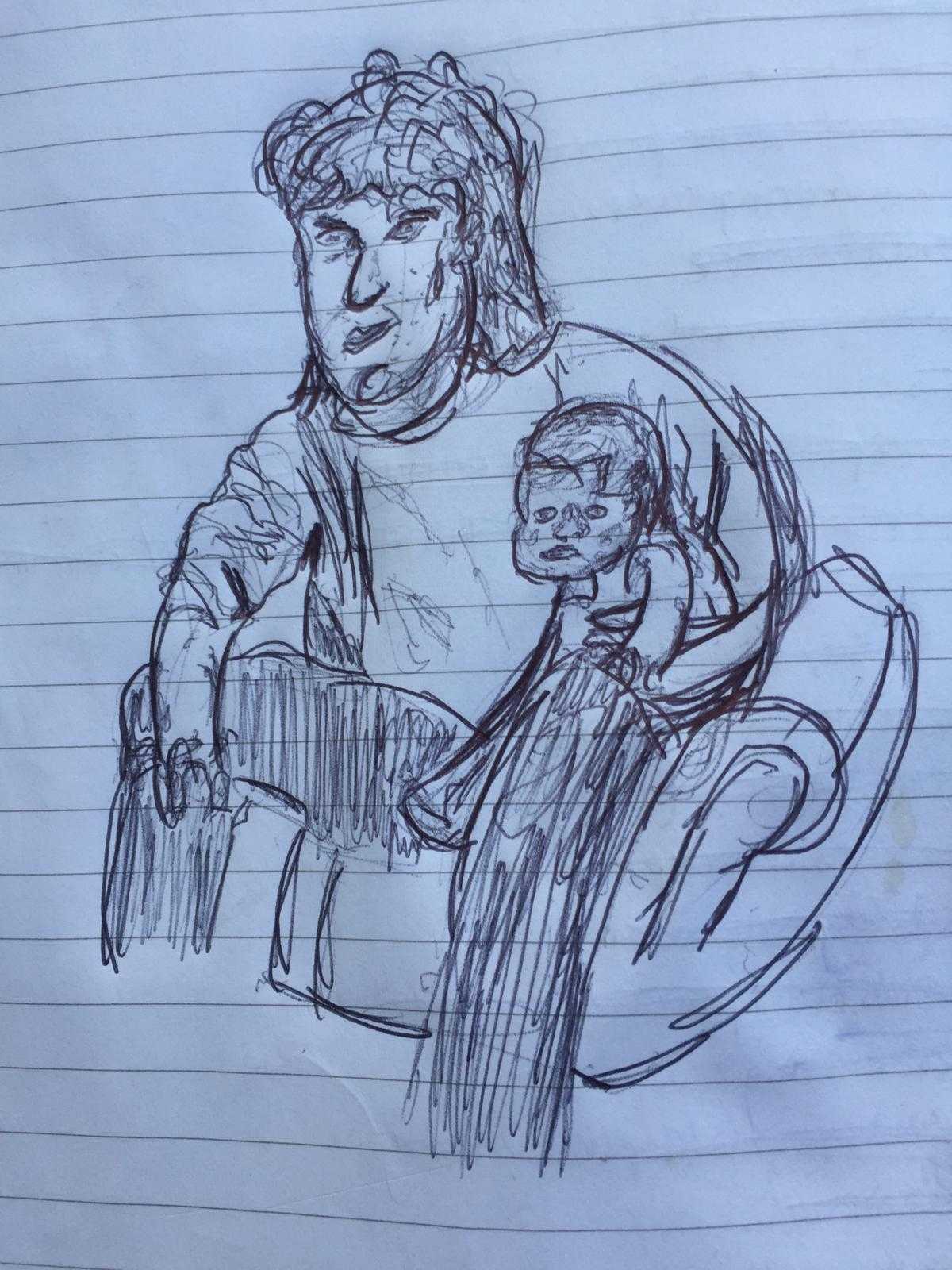 A drawing of a person  Description automatically generated