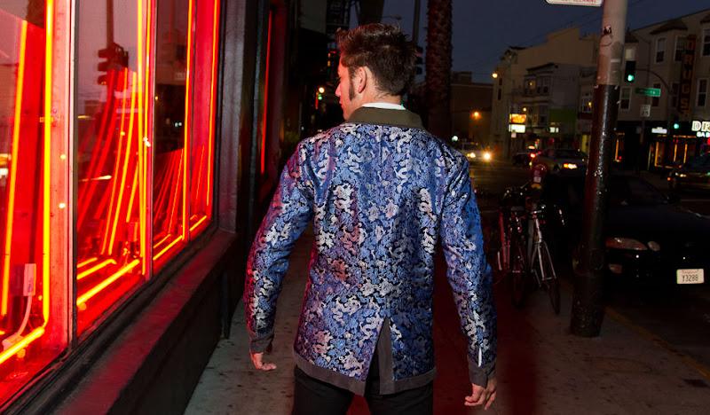 Gray Drinking Jacket backshot by neon window
