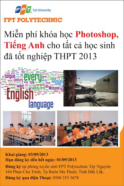 khóa học miễn phí Photoshop, tiếng Anh cho học sinh tốt nghiệp THPT