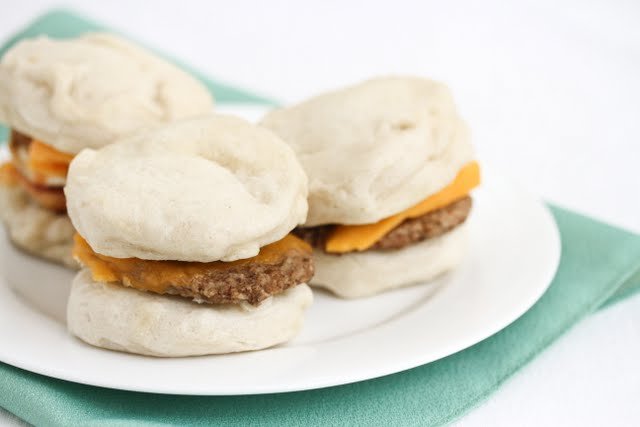 Steamed Sausage Biscuit Sandwiches