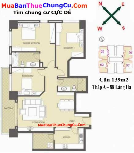 Thiết kế căn hộ 139m2 Chung cư 88 Láng Hạ tháp A