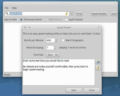 Use Xfce4 Dictionary as RSVP program