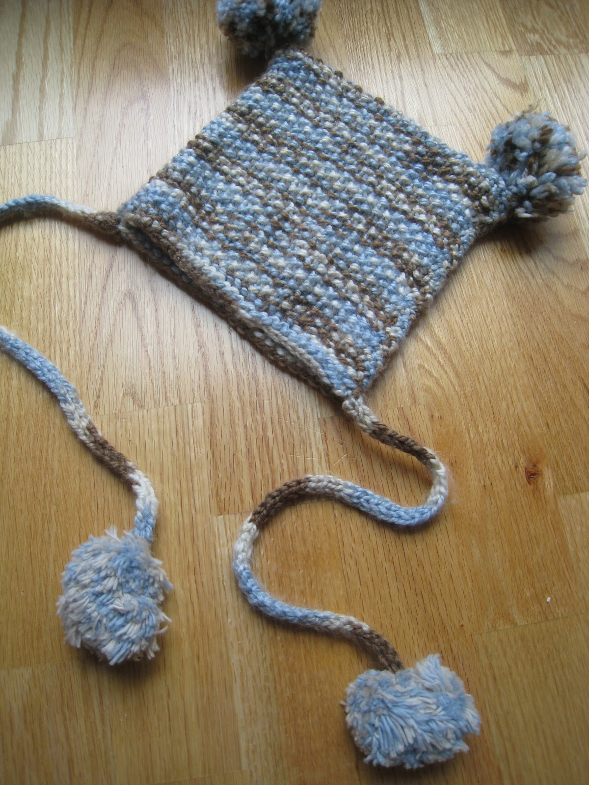 All This For Them Simple Knit Rectangle Hat With Pom Poms