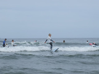 Niamh and friends and language students surfing july 1st