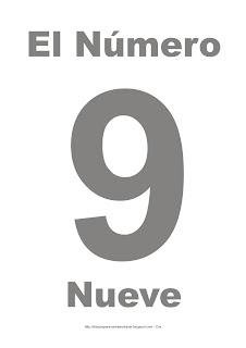 Lámina para imprimir el número nueve en color gris