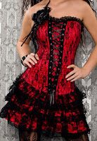Red & Black Corset Dress Set 1