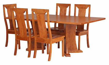 """80"""" x 42"""" Victoria Dining Table and Xenium Chairs in Red Cherry"""