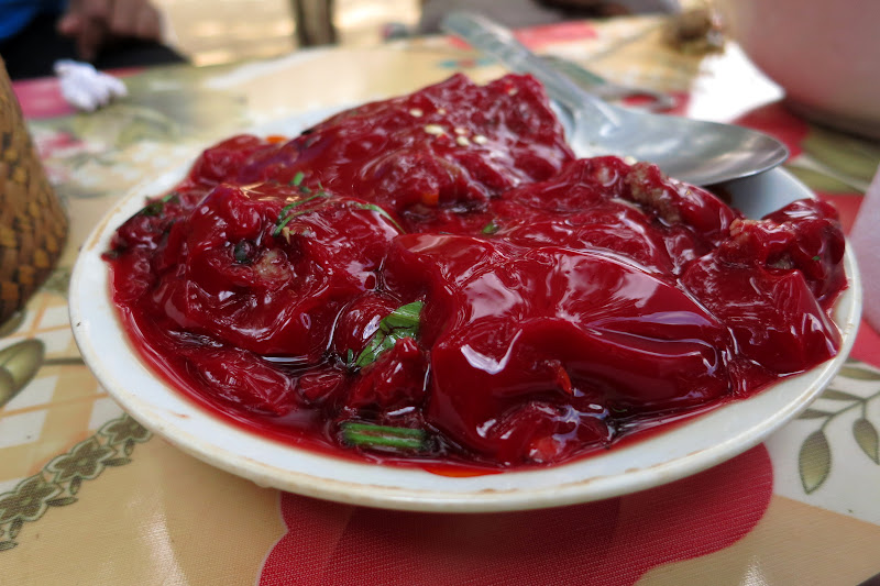 Congealed goat blood with cilantro and chilis